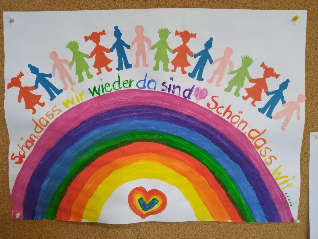 Regenbogen mit Text: Schön, dass wir wieder da sind.